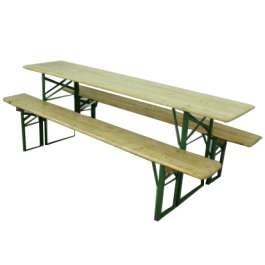 Vintage German Beer Table And Benches In Natural Pine Finish