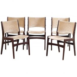 1950s Five Erik Buch Dining Chairs in Solid Teak and Grey Velvet