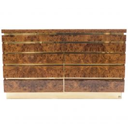 Large Burl Lacquer and Brass Chest of Drawers by J.C. Mahey, 1970s