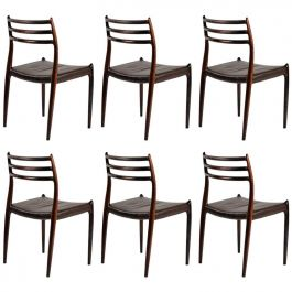 1950s Set of Six Reupholstered N. O. Moller Model 78 Dining Chairs in Rosewood