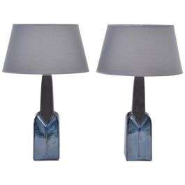 Model 1029 Stoneware Table Lamps by Einar Johansen for Søholm, 1960s, Set of 2