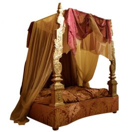 Italian 19th Century Canopy Bed with Silver Friezes and Upholstered Purple Silk