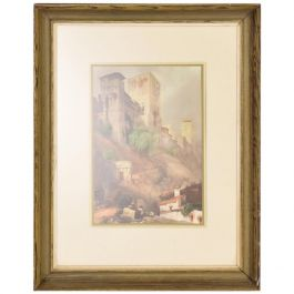 Antique Italian Landscape Painting, Framed