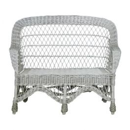 Midcentury Cane Sofa Woven White Wicker Conservatory Patio Settee, French