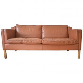 Danish Stouby Cognac Leather Sofa, 1980s