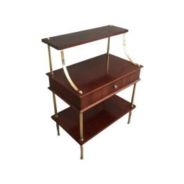 1940s Small Mahogany and Brass Drawer Shelves Attributed to Maison Jansen