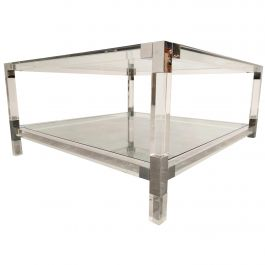 Lucite and Chrome Coffee Table, 1970s