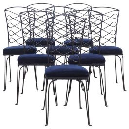 Eight Metal Chairs in the manner of René Prou