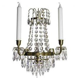 Wall Sconce: Empire style cognac coloured brass with crystals