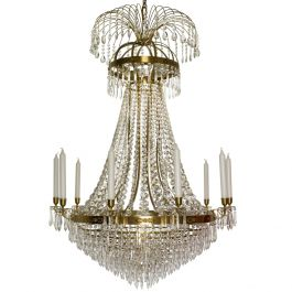 Empire Ten Arm Polished Brass Chandelier