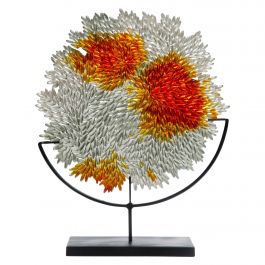 Grown Round, a Textured Glass Sculpture in Clear & Amber by Nina Casson McGarva