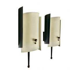 Pair of Petite Midcentury Sconces with Plexiglass Diffusers and Brass Details