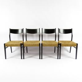 Belgian Straw Dining Chairs, 1950s, Set of 4