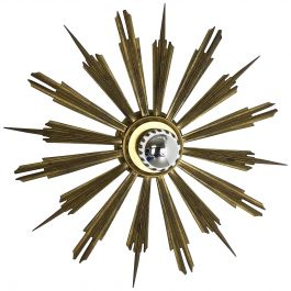 Brass Stilnovo Style Sunburst Theatre Wall Ceiling Light Sconces, Italy, 1950s