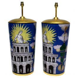 Pair of Large Declamania Lamps in the Manner of Fornasetti