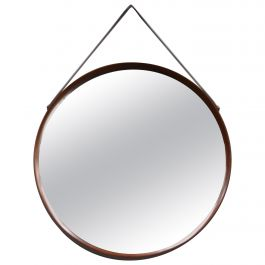 Round Italian Wall Mirror in Solid Teak, Leather and Brass, 1950s