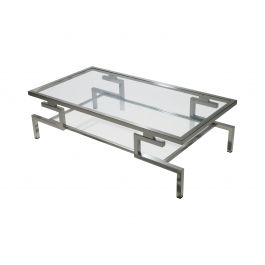 1970s Polished Nickel Coffee Table by Guy Lefevre for Jansen