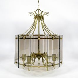 Brass & Smoked Glass Ceiling Lamp, 1970s