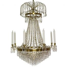 Empire Crystal Chandelier: in brass 8 arms with crystal drops