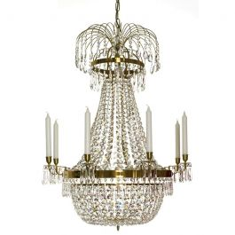 Empire Eight Arm Polished Brass Chandelier with Nine Lights