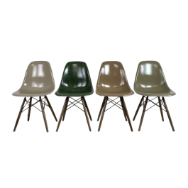 EAMES HERMAN MILLER DSW SIDE CHAIRS IN LIGHT GREIGE, DARK OLIVE, TAN AND UMBER