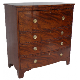 Regency Flame Mahogany Secretaire Bow Front Chest