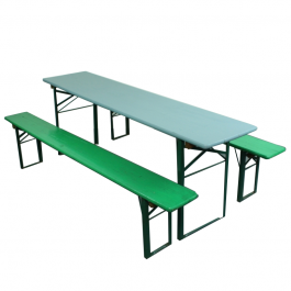 Vintage German Beer Table And Benches Painted