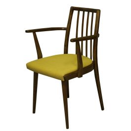 Mid Century Dining Chair with Mustard Cushion by Jiri Jiroutek