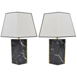 Pair of Marble and Brass Lozange Lamps