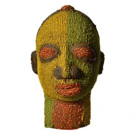 Nigerian Beaded Female Head Sculpture in Yellow, Green and Red