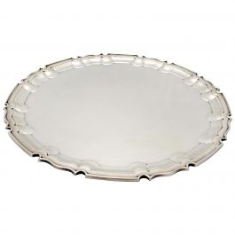 Antique George V English Sterling Silver Presentation Salver, 1930