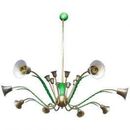 1950s Sixteen Arm Italian Brass Chandelier