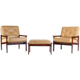 Mid Century Design Armchairs & Footstool by Illum Wikkelso for Niels Eilersen, Danish 1960's
