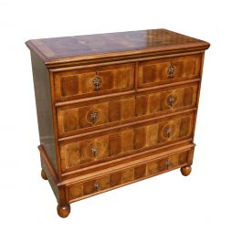 19th Century Queen Anne Style Walnut and Oyster Veneer Chest of Drawers