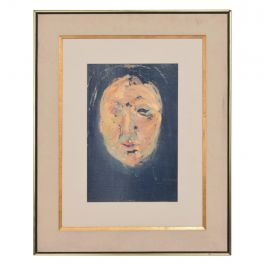 Mid-Century Modern Abstract Portrait Oil on Board Style Francis Bacon