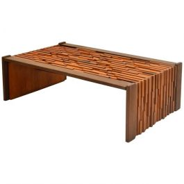 1960s Brutalist Coffee Table in Brazilian Hard Wood Relief by Percifal Lafer