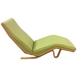 Bentwood and Leather Chaise Longue