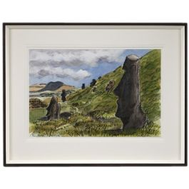 A set of six watercolours of Easter Island
