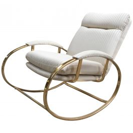 Mid-Century Modern Italian Gilt Metal Lounge Rocking Chair, 1970s