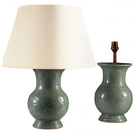 Pair of 19th Century Celadon Vases as Table Lamps of Baluster Form