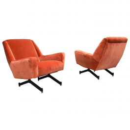 Pair of Italian Midcentury Lounge Chairs in New Copper Pink Velvet, 1950s
