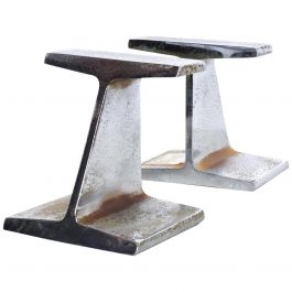 Mid-Century Modern Chrome Bookends by Kaiser Steel I Beam Railroad Iron
