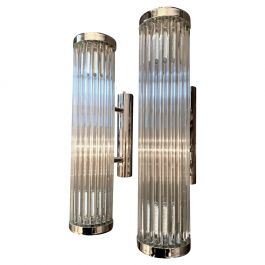 Italian Venini Style Murano Glass Rod, Wall Sconces With Chrome Fittings