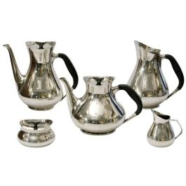 1960s Silver Plated Tea and Coffee Set by Hans Bunde