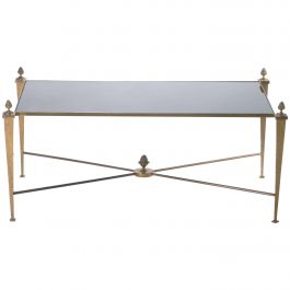 Maison Ramsay Gold Gilt and Opaline Coffee Table, 1960s