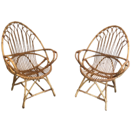 PAIR OF VERY NICE EGG SHAPED RATTAN ARMCHAIRS