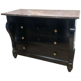Early 19th Century Italian Ebonized Marble-Topped Commode
