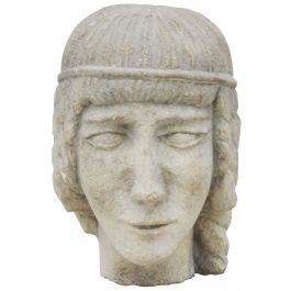 Carved Stone Female Head Sculpture