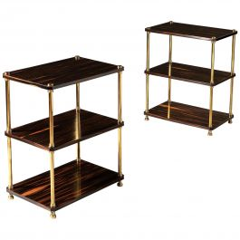 20th Century Brown Calamander Wood and Brass Three-Tier Étagères or Tables, Pair