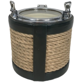 Unusual Chrome, Leather And Rope Ice Bucket